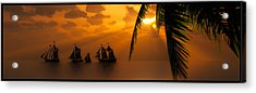 Ships And The Golden Dawn... Acrylic Print by Tim Fillingim