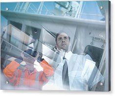 Ships Captain And Worker Seen Through Reflections On Container Ship Acrylic Print by Monty Rakusen