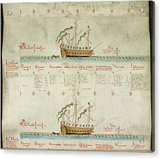 Ships In The King's Navy Fleet From 1548 Acrylic Print by British Library