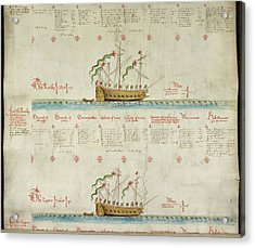 Ships In The King's Navy Fleet From 1549 Acrylic Print by British Library