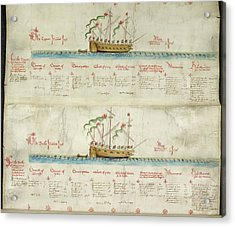 Ships In The King's Navy Fleet From 1550 Acrylic Print by British Library