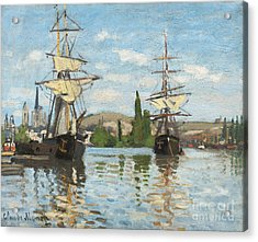 Ships Riding On The Seine At Rouen Acrylic Print