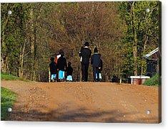 Shipshewanna Amish Family On Their Way To Church Acrylic Print by Jay Dreifus