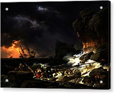 Acrylic Print featuring the digital art Shipwreck In A Thunderstorm by Joseph Vernet