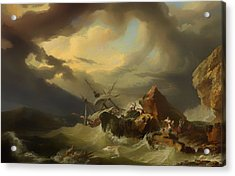 Shipwreck Off A Rocky Coast Acrylic Print