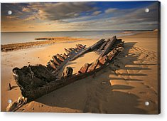 Shipwreck On Cape Cod Beach Acrylic Print by Dapixara Art