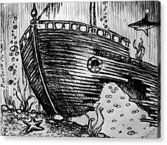 Acrylic Print featuring the painting Shipwreck by Salman Ravish