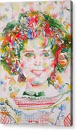 Shirley Temple - Watercolor Portrait.1 Acrylic Print
