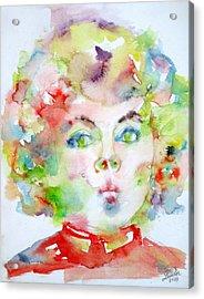 Shirley Temple - Watercolor Portrait.2 Acrylic Print