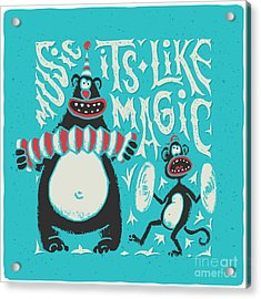Shirt Print With Band Of Circus Monkey Acrylic Print