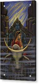 Shiva Parvati. Night In Himalayas Acrylic Print by Vrindavan Das