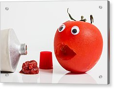 Shocked Tomato. Acrylic Print by Gary Gillette