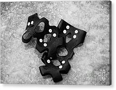 Shoe Spiked Grips On Melting Ice And Snow On Street Surface Acrylic Print by Joe Fox