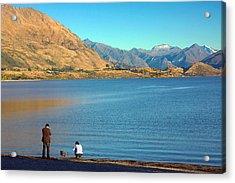 Acrylic Print featuring the photograph Shooting Ducks On Lake Wanaka by Stuart Litoff