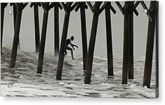 Shooting The Pier Acrylic Print by Karen Wiles