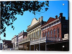Shop Fronts In Old Sacramento - Acrylic Print by Rick Gerharter