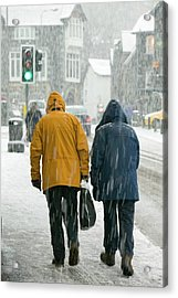 Shoppers Trudging Through Snow Acrylic Print by Ashley Cooper