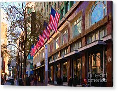 Shopping Along Market Street In San Francisco - 5d20712 Acrylic Print by Wingsdomain Art and Photography