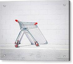 Shopping Cart Against White Wall Acrylic Print by Glenn Homann / Eyeem