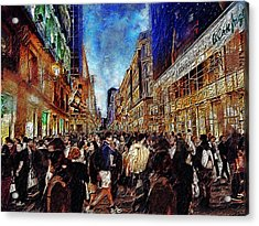 Shopping Madness Acrylic Print by Cary Shapiro