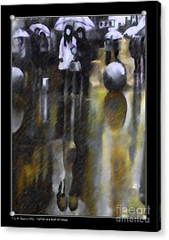Shopping On A Rainy Afternoon Acrylic Print by Pedro L Gili