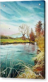 Acrylic Print featuring the painting Shore Of The River by Sorin Apostolescu