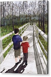 Acrylic Print featuring the painting Short Walk Long Pier by June Holwell
