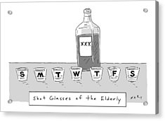 Shot Glasses Of The Elderly -- A Series Of Shot Acrylic Print