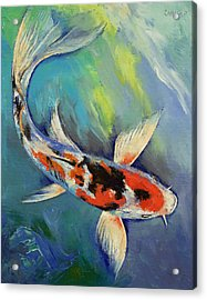 Showa Butterfly Koi Acrylic Print by Michael Creese