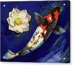 Showa Koi And Lotus Flower Acrylic Print by Michael Creese