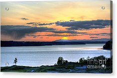 Acrylic Print featuring the photograph Showers Over Mcneil Island - Chambers Bay Golf Course by Chris Anderson