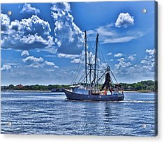 Shrimp Boat Heading To Sea Acrylic Print
