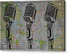 Shure 55s On Map Acrylic Print