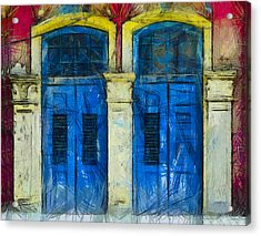 Shutter Doors In Lil India Acrylic Print by Joseph Hollingsworth