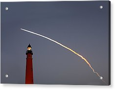 Acrylic Print featuring the photograph Shuttle Discovery Liftoff Over Ponce Inlet Lighthouse by Paul Rebmann