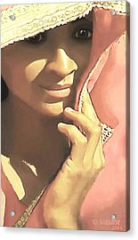 Acrylic Print featuring the painting Shy by Sophia Schmierer