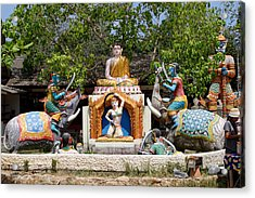 Siamese Wat Garden With Sculptures Acrylic Print by Linda Phelps