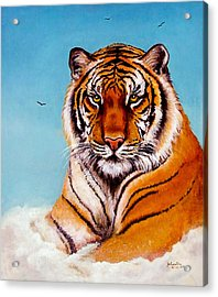 Acrylic Print featuring the painting Siberian King Tiger by Bob and Nadine Johnston