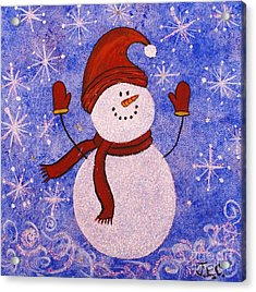 Sid The Snowman Acrylic Print by Jane Chesnut
