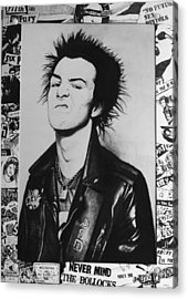 Sid Vicious Collage Acrylic Print by Steve Hunter
