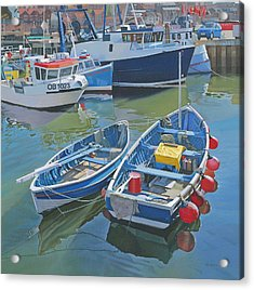 Side By Side In Whitby Harbour Acrylic Print by Graham Clark