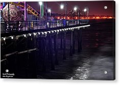 Side Of The Pier - Santa Monica Acrylic Print by Gandz Photography