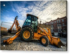 Side View Of A Backhoe At Sunset Acrylic Print