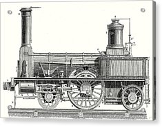 Sideview Of A Locomotive Showing The Mechanism Of The Engine Acrylic Print by English School