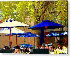 Sidewalk Cafe Blue Bistro Umbrellas Downtown Oasis Terrace Montreal City Scene Carole Spandau Acrylic Print by Carole Spandau