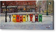 Sidewalk Sentinels In Early Snow Acrylic Print