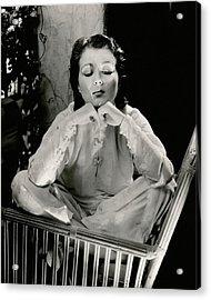 Sidney Fox Sitting On A Bamboo Chair Acrylic Print