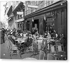 Sidwalk Cafe In Madrid Acrylic Print by Underwood Archives