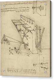 Siege Machine In Defense Of Fortification With Details Of Machine From Atlantic Codex Acrylic Print by Leonardo Da Vinci