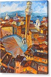Siena-piazza Dil Campo Acrylic Print by Mikhail Zarovny